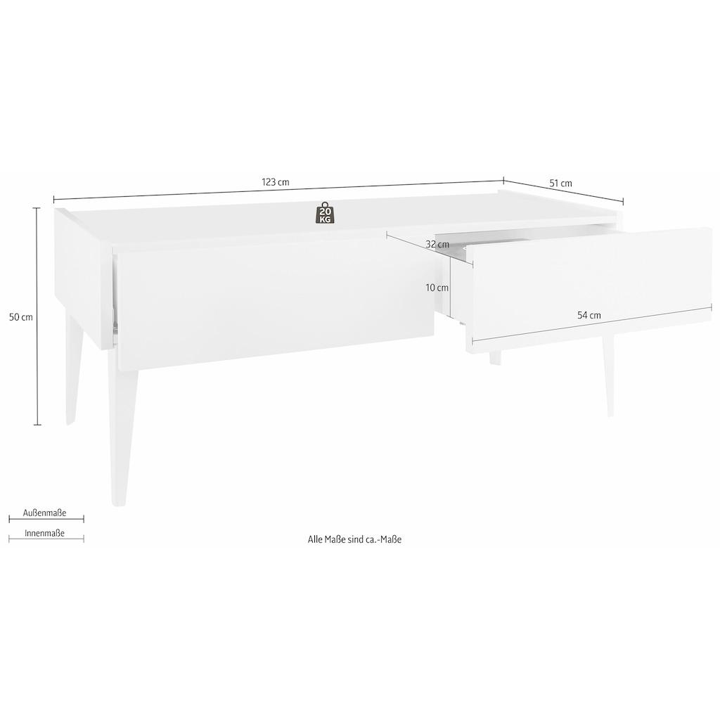 Places of Style TV-Board »Zela«, mit 2 Schubladen, mit Füßen, Breite 123 cm