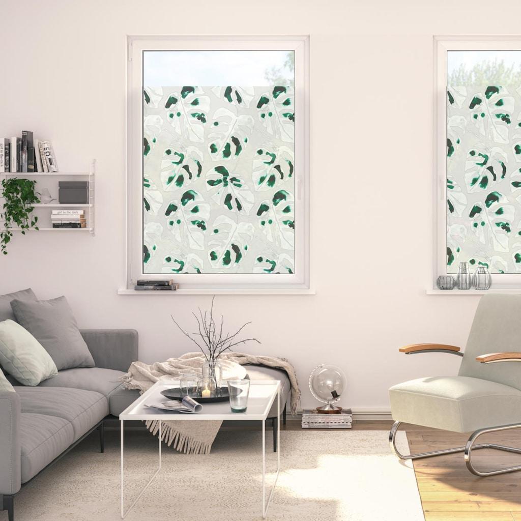 LICHTBLICK ORIGINAL Fensterfolie »Fensterfolie selbstklebend, Sichtschutz, Monstera - Grün«, 1 St., blickdicht, glattstatisch haftend