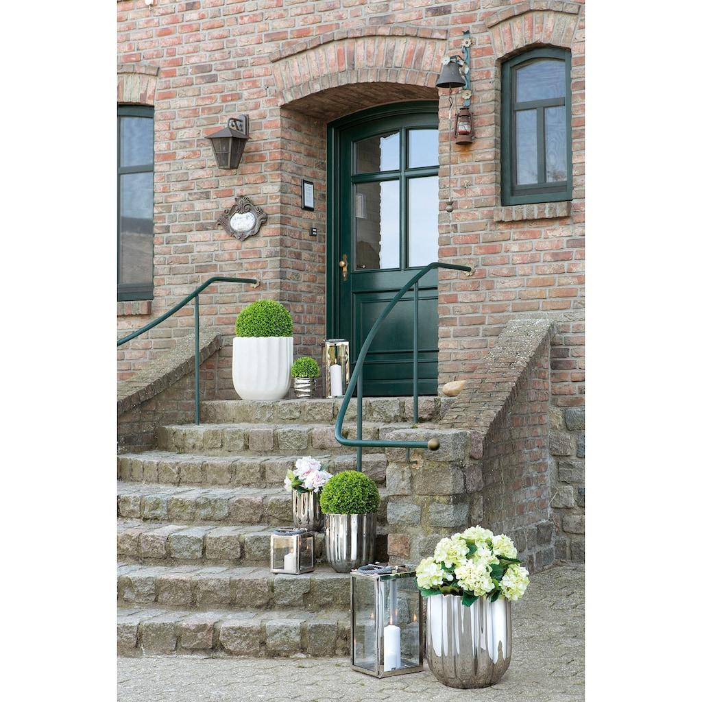 Fink Übertopf »TULIP, silberfarben«, (1 St.), dekorativer Blumentopf, handgefertigt, aus Keramik, glänzend, verschiedene Durchmesser erhältlich, Vase, Wohnzimmer