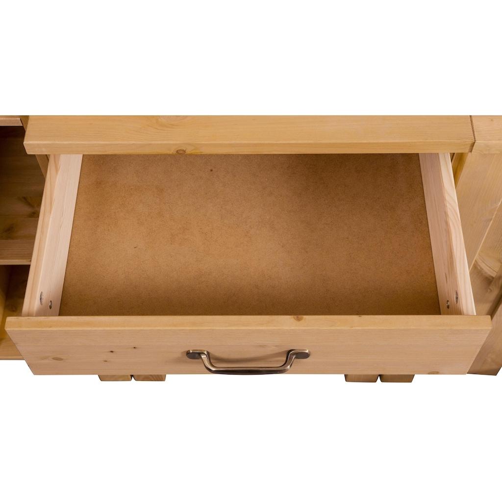 Home affaire Küchen-Set »Alby«, (Set, (7-tlg.), 325 cm breit, mit 35 mm starker durchgehender Arbeitsplatte, aus Kiefer massiv