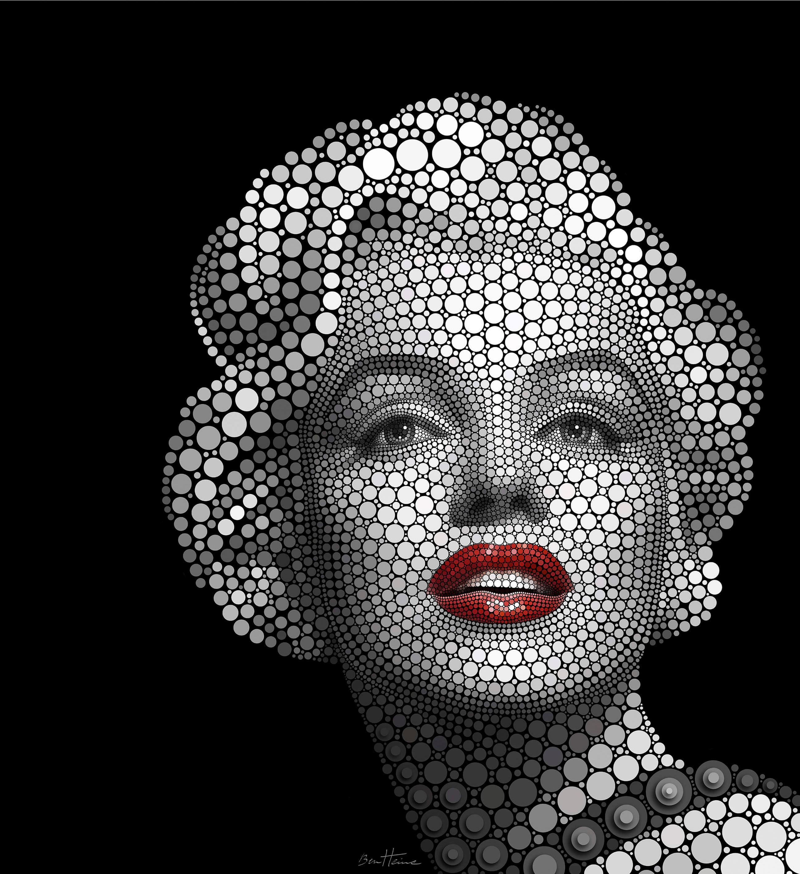 Fototapete Ben Heine Circlism: Marilyn Monroe in 2 Größen Wohnen/Accessoires & Leuchten/Wohnaccessoires/Tapeten und Bordüren/Fototapeten/Fototapeten Kunst