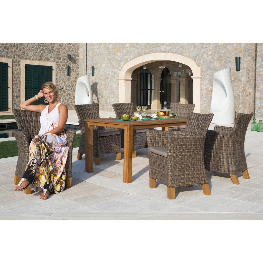 MERXX Gartensessel »Toskana«, 2er Set, Polyrattan/Non-Wood, grau