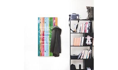 Artland Garderobe »Nimm dir Zeit«, platzsparende Wandgarderobe aus Holz mit 6 Haken,... kaufen