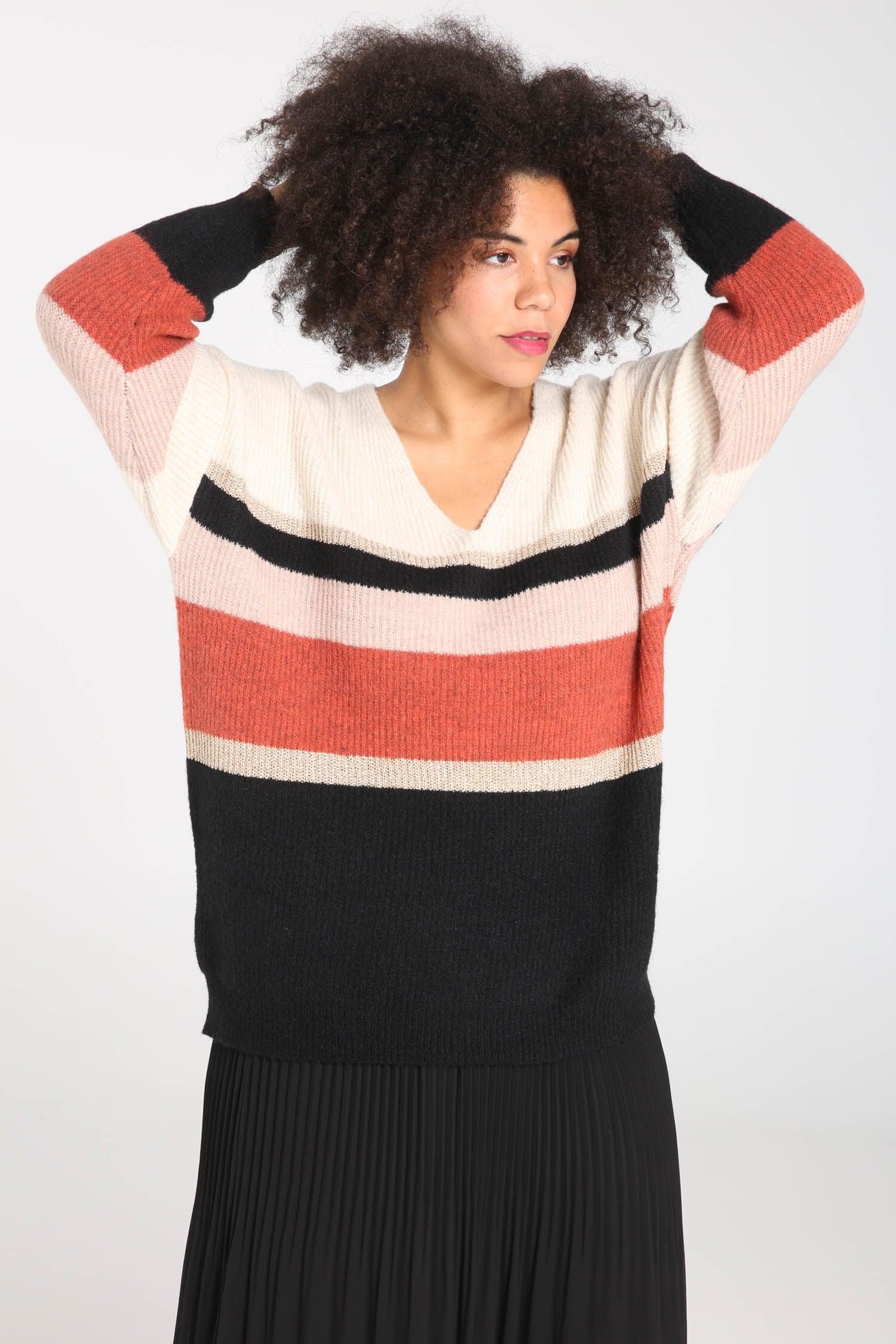 Paprika Streifenpullover | Bekleidung > Pullover > Streifenpullover | Paprika