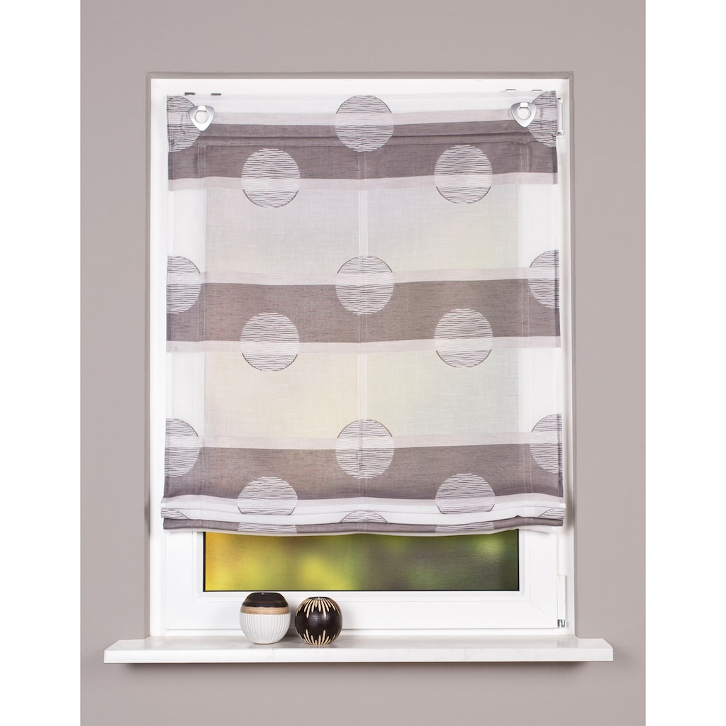 HOME WOHNIDEEN Raffrollo »MEGARA«, mit Ösen, freihängend, Querstreifen Scherli