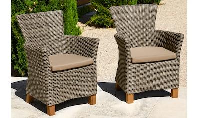 MERXX Gartensessel »Toskana«, 2er Set, Polyrattan/Non-Wood, grau kaufen
