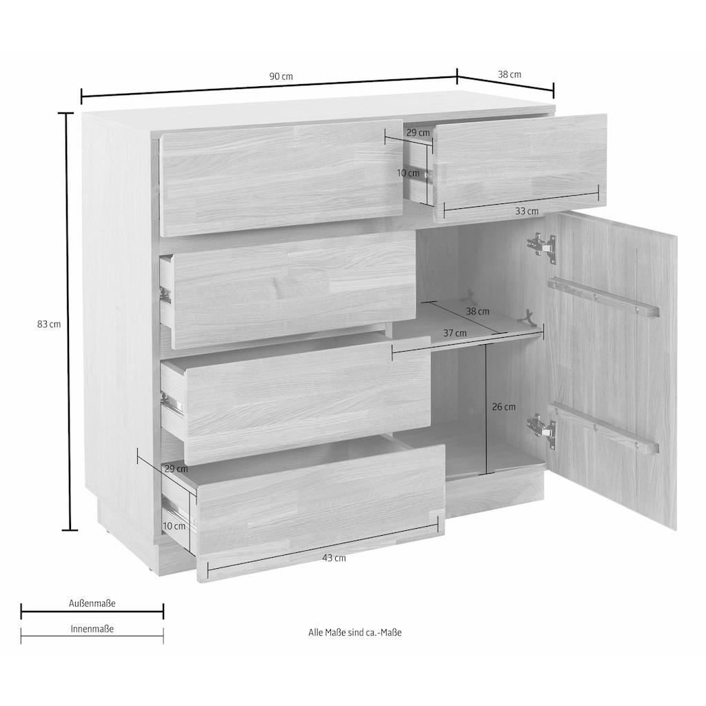 Kommode, Breite 90 cm mit 5 Schubladen