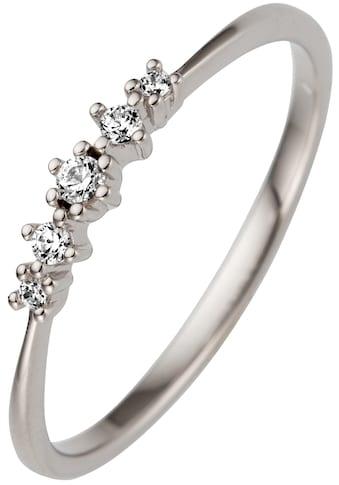 JOBO Fingerring, schmal 585 Weißgold mit 5 Diamanten kaufen