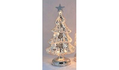 HGD Holz - Glas - Design Beleuchteter Glas - Weihnachtsbaum mit Dekor kaufen