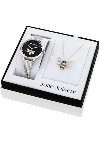 Julie Julsen Quarzuhr »Bee Box Black, JJW1072SME-SET«, (Set, 3 tlg., mit Kette und... kaufen