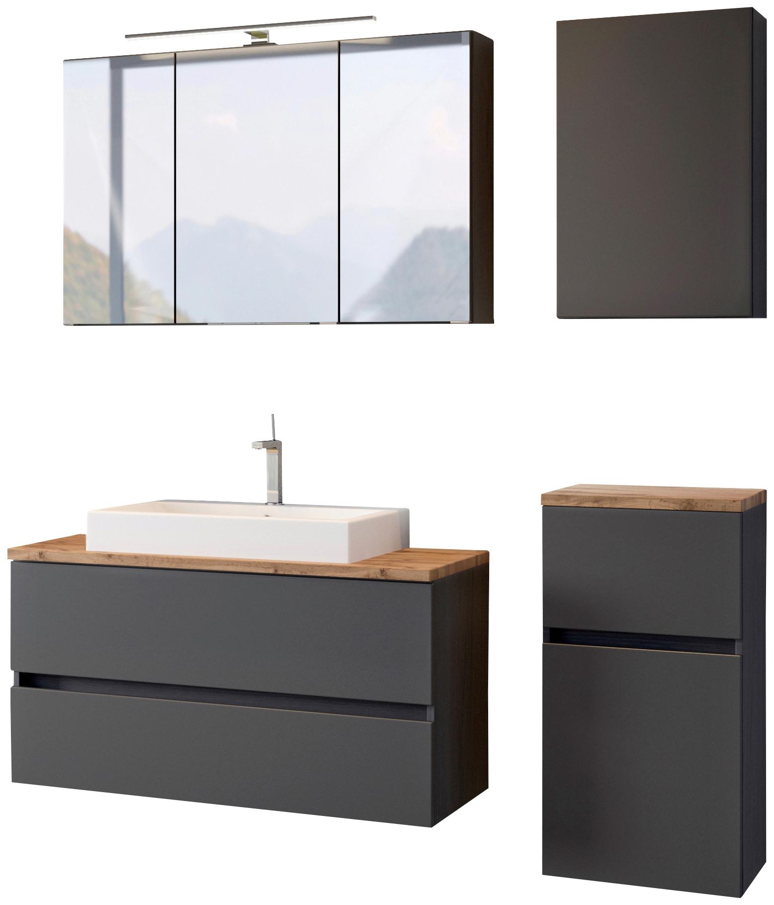 HELD MÖBEL Waschtisch-Set, (4 tlg.), mit Softclose-Funktion grau Waschtische Badmöbel Waschtisch-Set