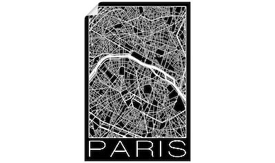 Artland Wandbild »Retro Karte Paris Frankreich Schwarz«, Frankreich, (1 St.), in vielen Größen & Produktarten - Alubild / Outdoorbild für den Außenbereich, Leinwandbild, Poster, Wandaufkleber / Wandtattoo auch für Badezimmer geeignet kaufen