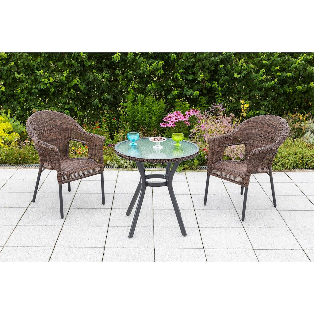 MERXX Gartensessel »Ravenna«, 2er Set, Polyrattan, stapelbar, braun