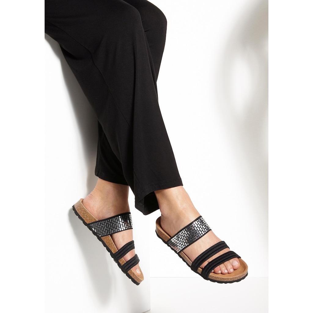 LASCANA Pantolette, mit Korkfußbett und elastischen Riemchen
