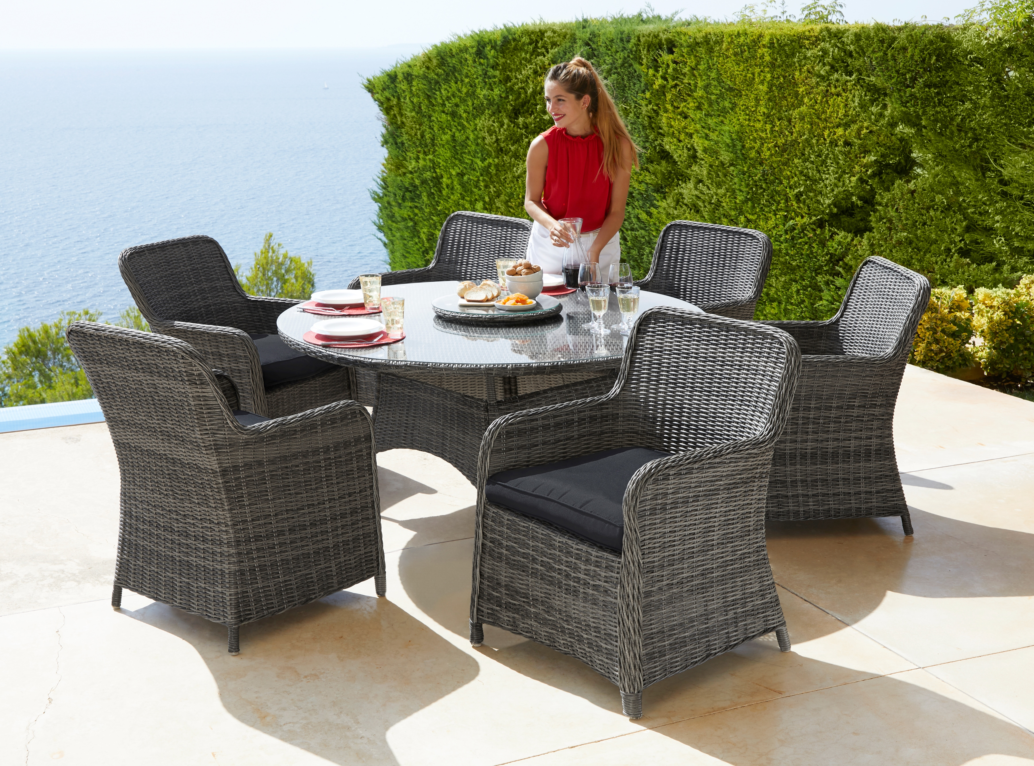 KONIFERA Gartenmöbelset Florenz 13-tlg 6 Stühle Tisch Ø 150 cm Polyrattan
