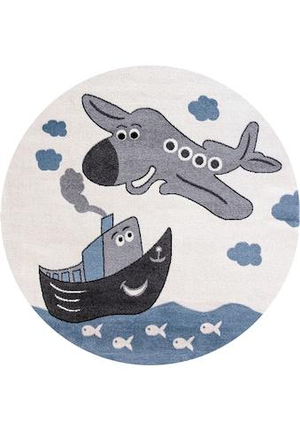 Festival Kinderteppich »Candy 151«, rund, 11 mm Höhe, Motiv Flugzeug kaufen