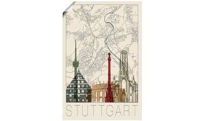 Artland Wandbild »Retro Karte Stuttgart« kaufen