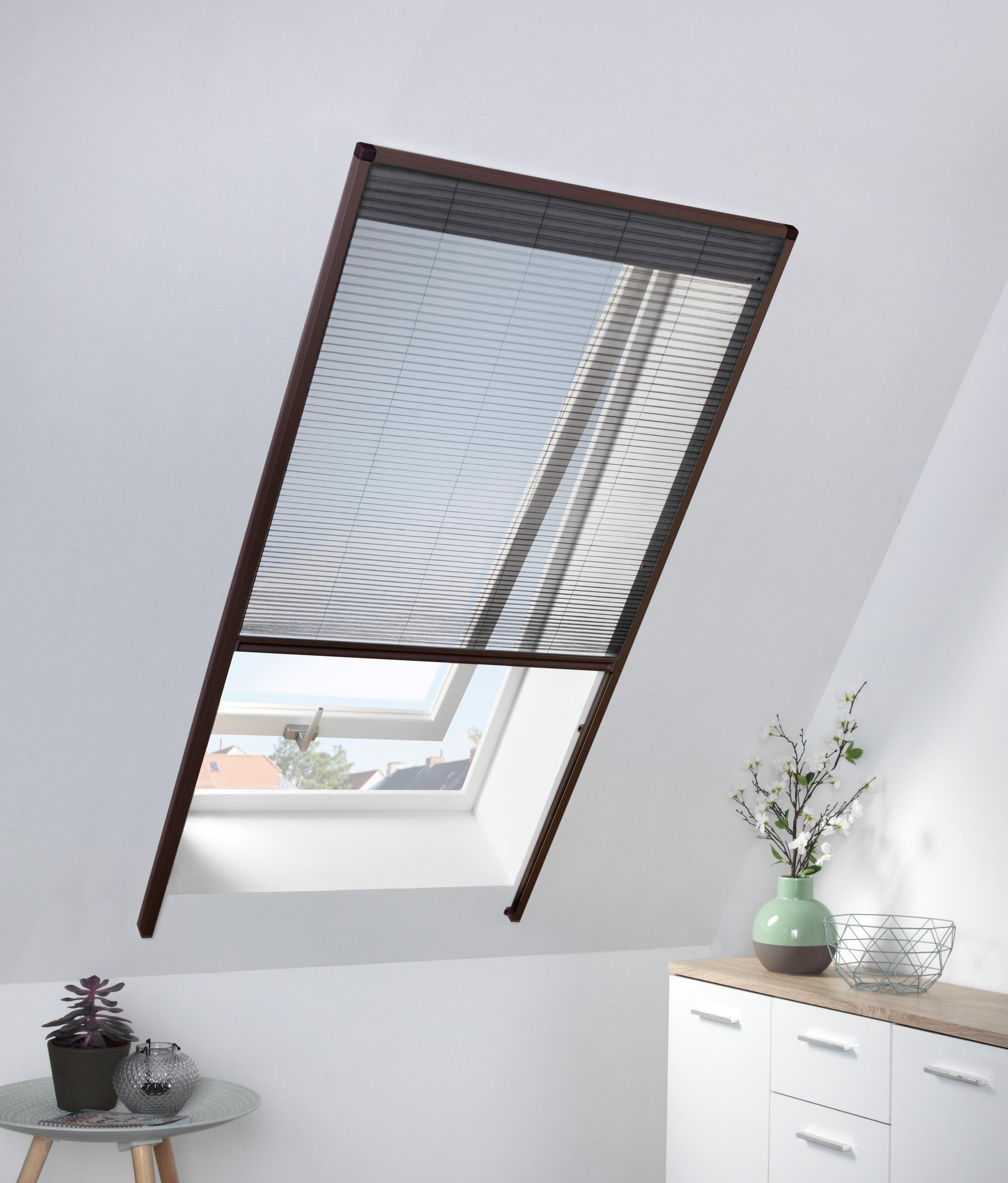 hecht international Insektenschutz-Dachfenster-Rollo, braun/anthrazit, BxH: 80x160 cm braun Insektenschutzfenster Insektenschutz Bauen Renovieren Insektenschutz-Dachfenster-Rollo