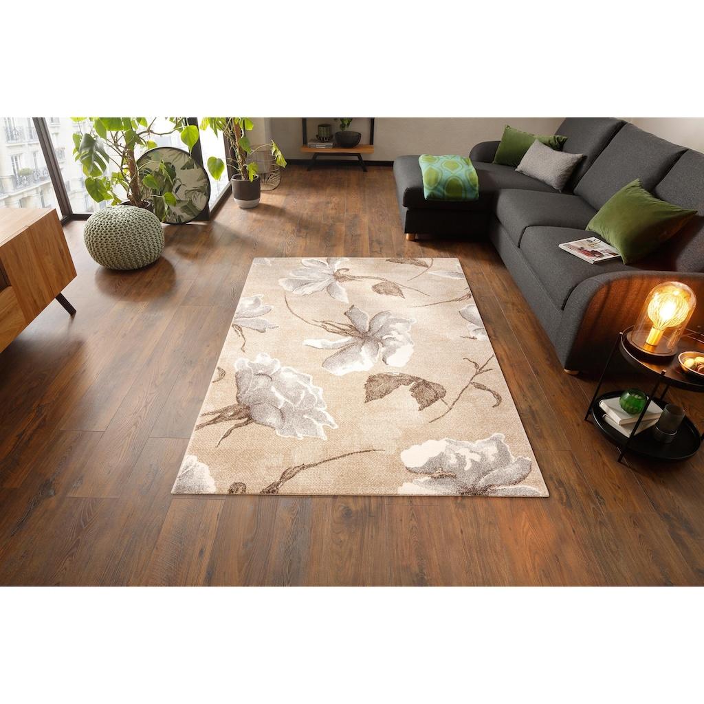 my home Teppich »Sofia«, rechteckig, 13 mm Höhe, Blumen Design, Wohnzimmer
