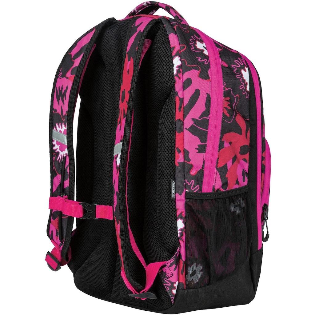 Herlitz Schulrucksack »be.bag be.ready, pink summer«, Reflektionsnähte-reflektierende Streifen auf den Schultergurten