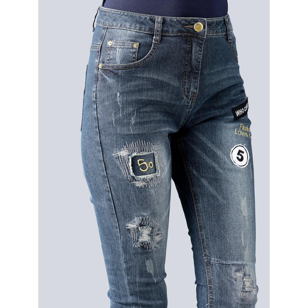 Alba Moda Jeans mit Badges und Stickereien