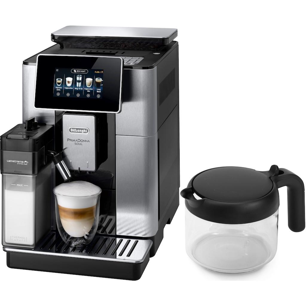 De'Longhi Kaffeevollautomat »PrimaDonna Soul ECAM 610.75.MB mit Kaffeekannenfunktion, silber«, inkl. Kaffeekanne im Wert von UVP € 29,99