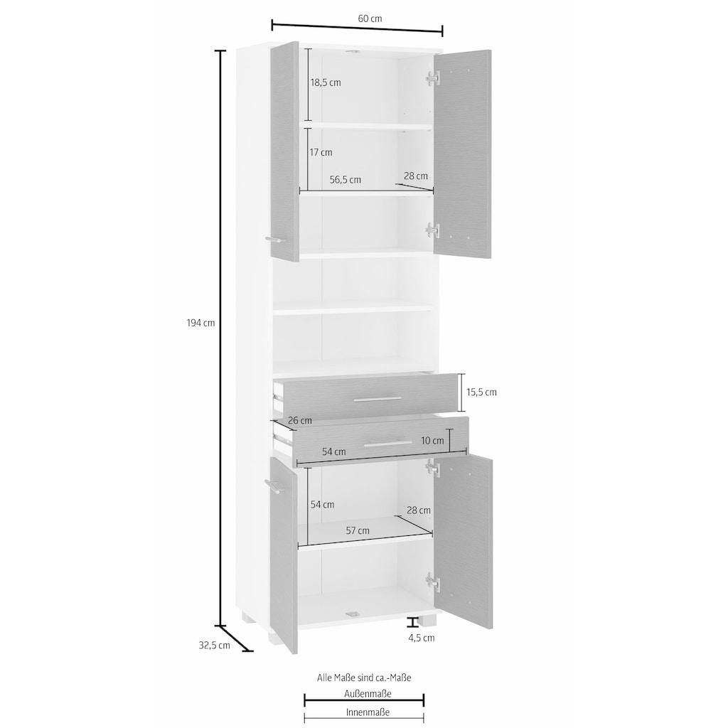Schildmeyer Hochschrank »Palermo«, Breite 60 cm, verstellbare Einlegeböden, Metallgriffe, 2 Schubkästen & 4 Türen