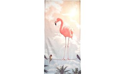 Juniqe Handtuch »Flamingo and Friends«, (1 St.), Weiche Frottee-Veloursqualität kaufen