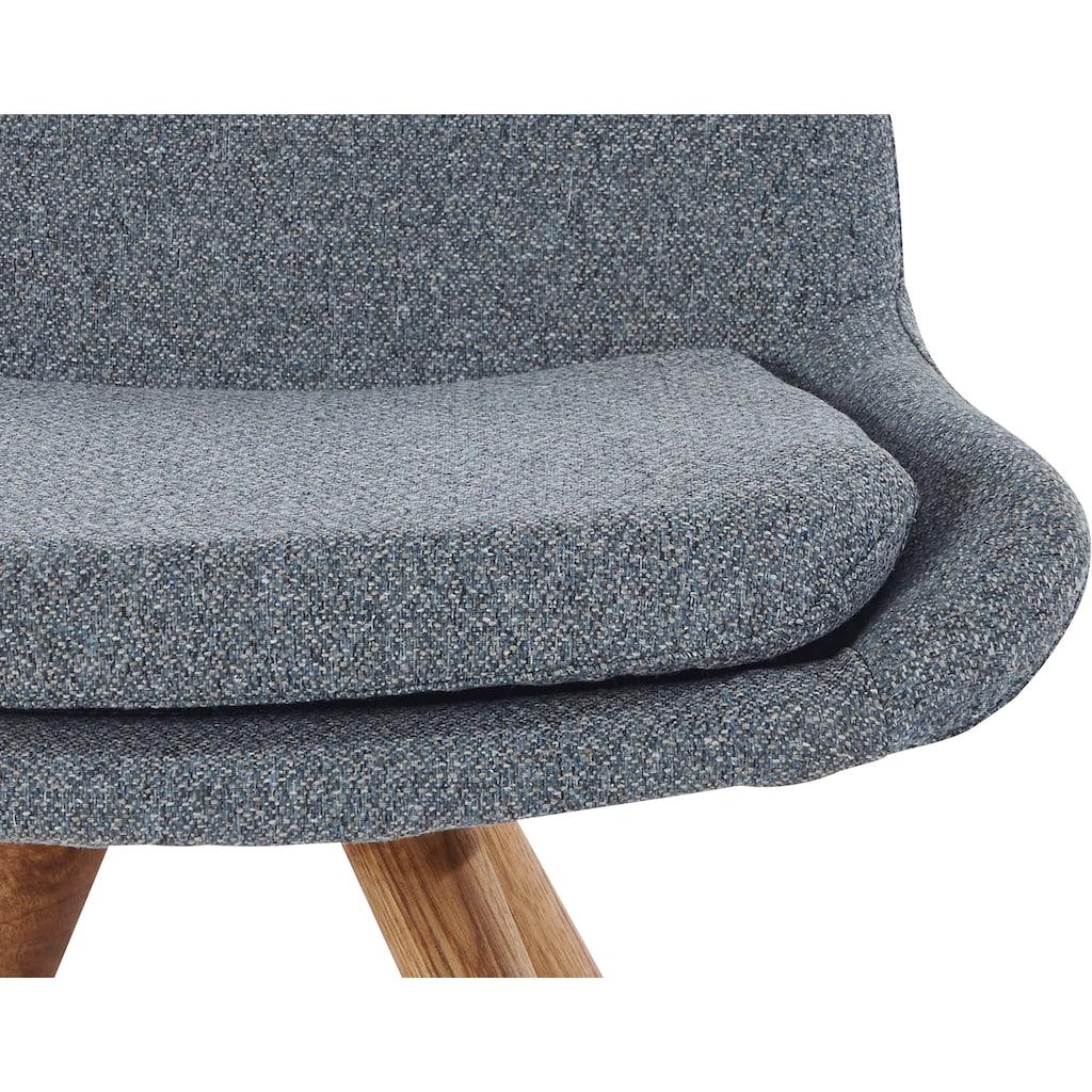 Schalenstuhl »Malmö«, Bezug in Strukturstoff oder Leder und das Gestell in Eiche Massivholz geölt