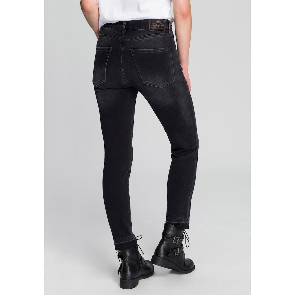 Herrlicher Slim-fit-Jeans »MÄZE SLIM CROPPED«, mit asymetrischem Knopfverschluss