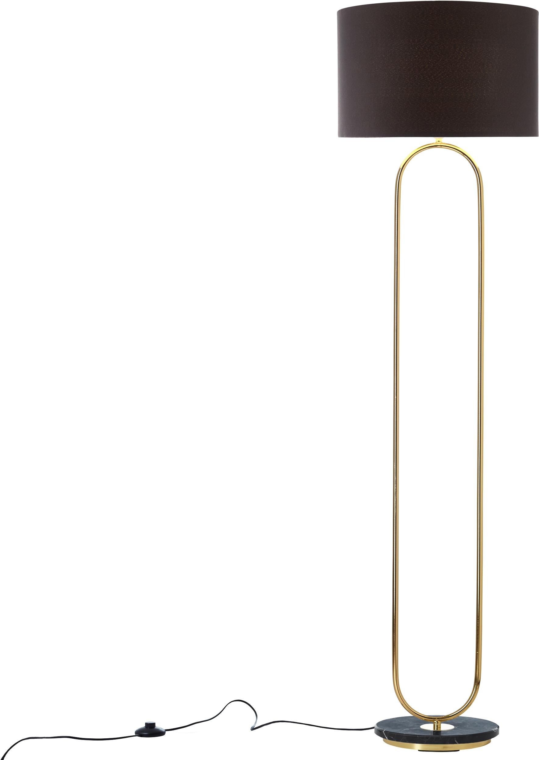 Guido Maria Kretschmer Home&Living Stehlampe Zeria, E27, Fuß der Stehleuchte in Marmor-Optik, schwarzer Stoff-Schirm