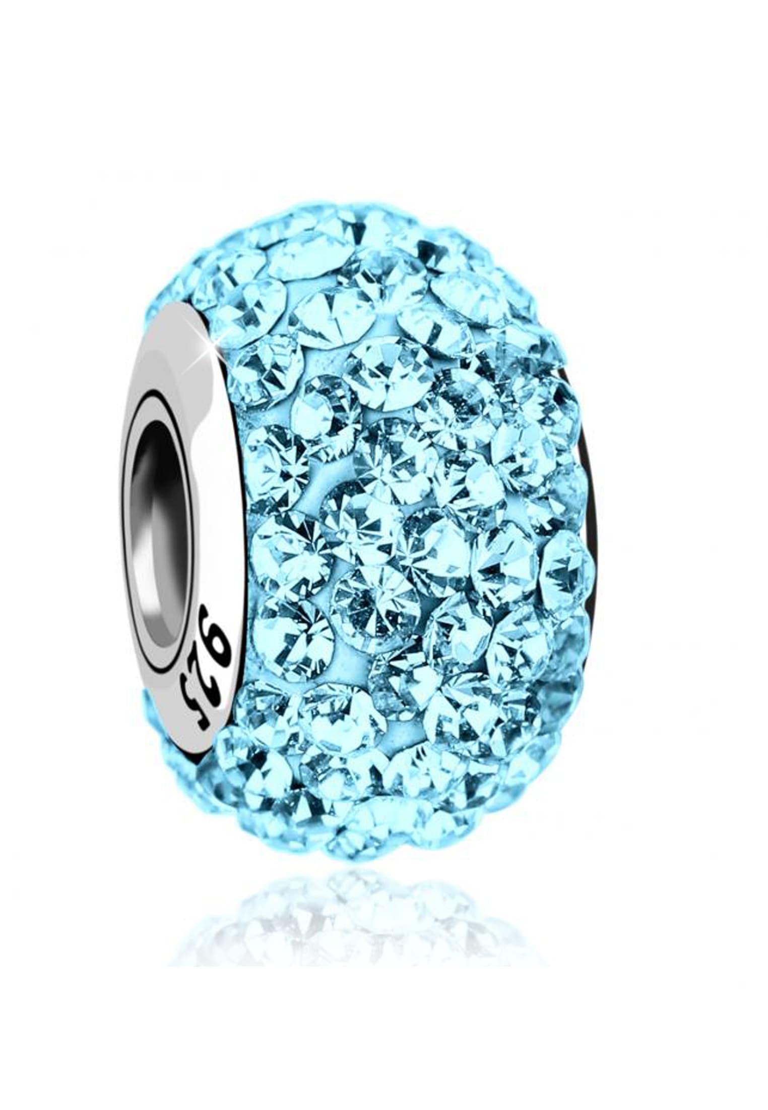 Nenalina Charm-Einhänger Kugel Bead Violett Swarovski Kristalle 925 Silber | Schmuck > Charms | Nenalina
