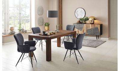Home affaire Essgruppe »Gimbi«, (Set, 5 tlg.), bestehend aus 1 Esstisch aus massivem Holz und 4 Stühlen mit schönem Webstoff Bezug kaufen