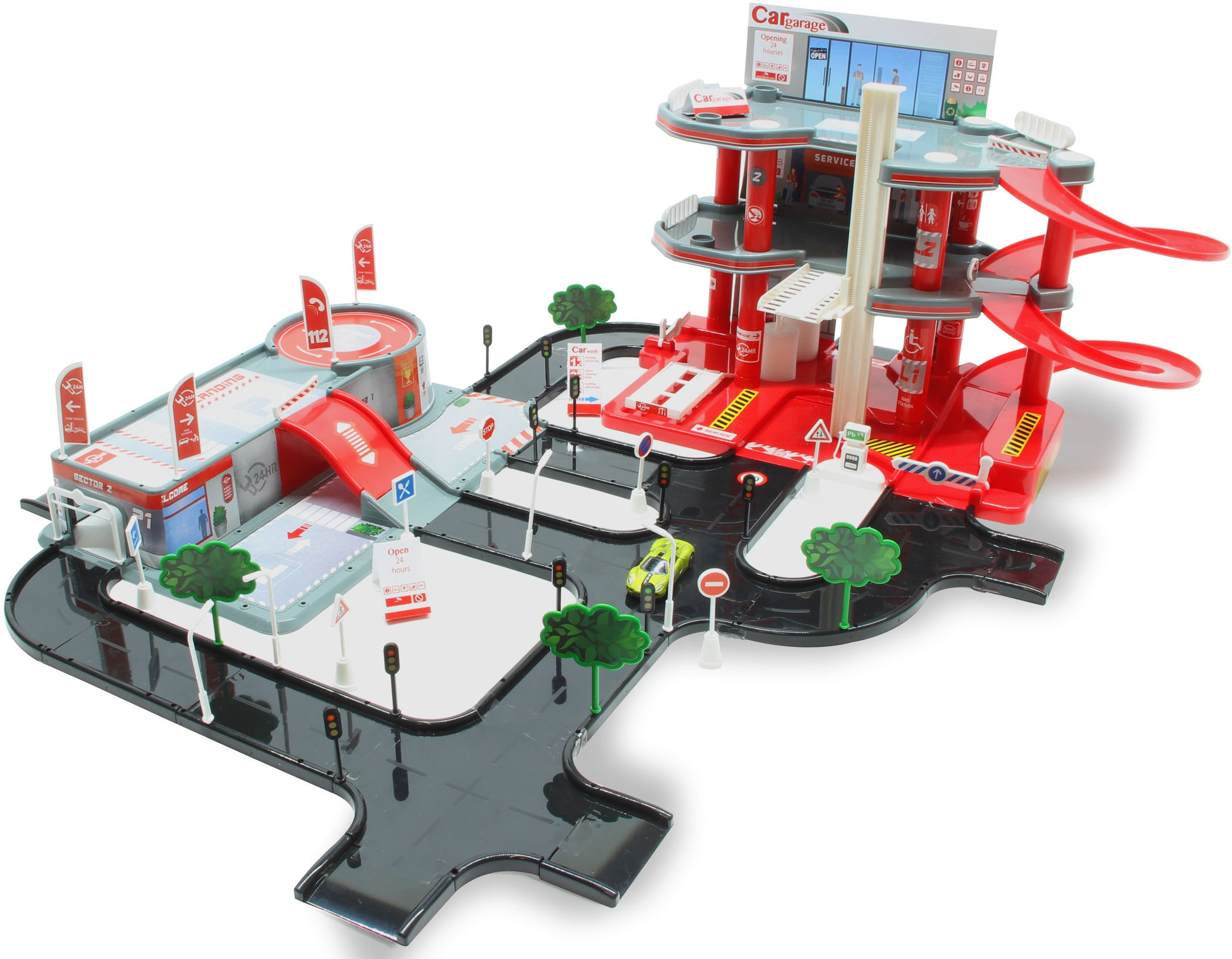 Jamara Spiel-Parkgarage Small City 92tlg. rot Kinder Zubehör für Spielzeugautos Autos, Eisenbahn Modellbau