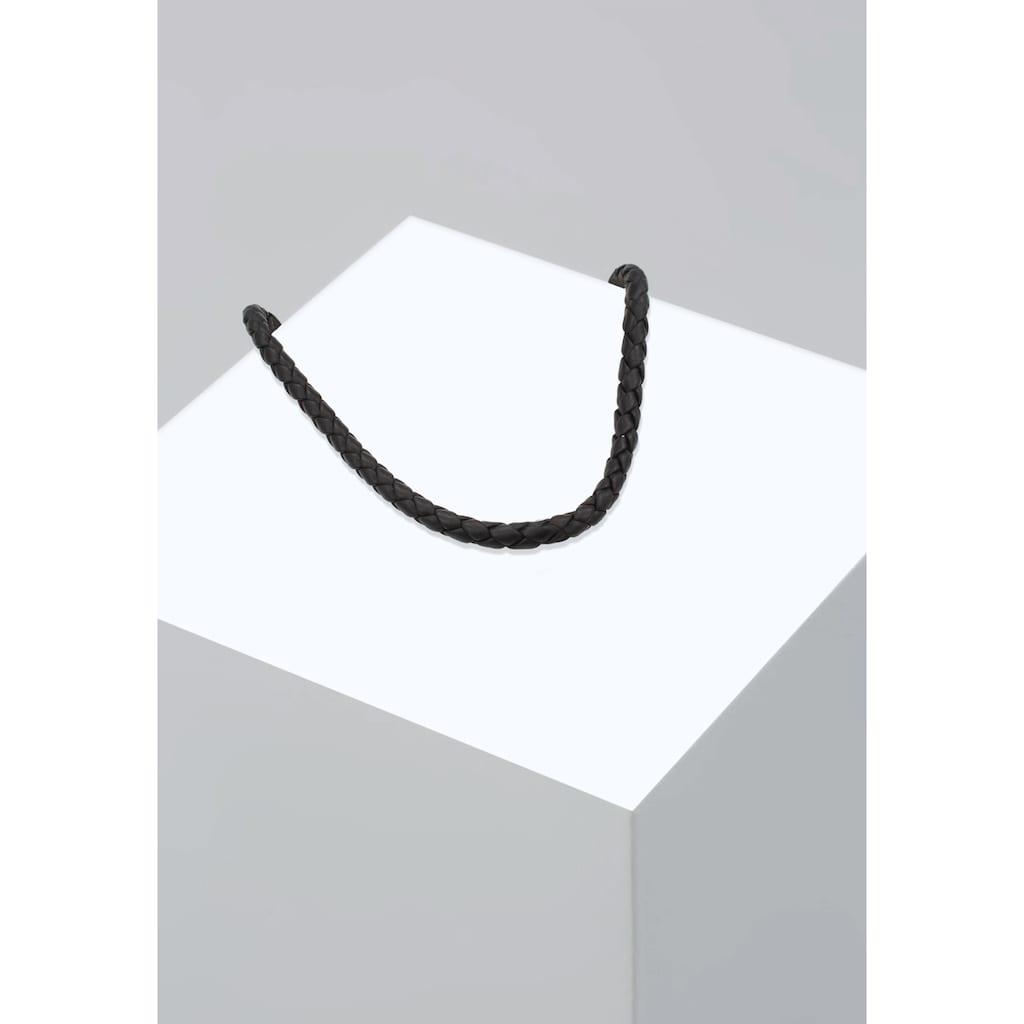 Kuzzoi Lederband »Herren Lederkette Geflochten Schwarz 925 Silber«
