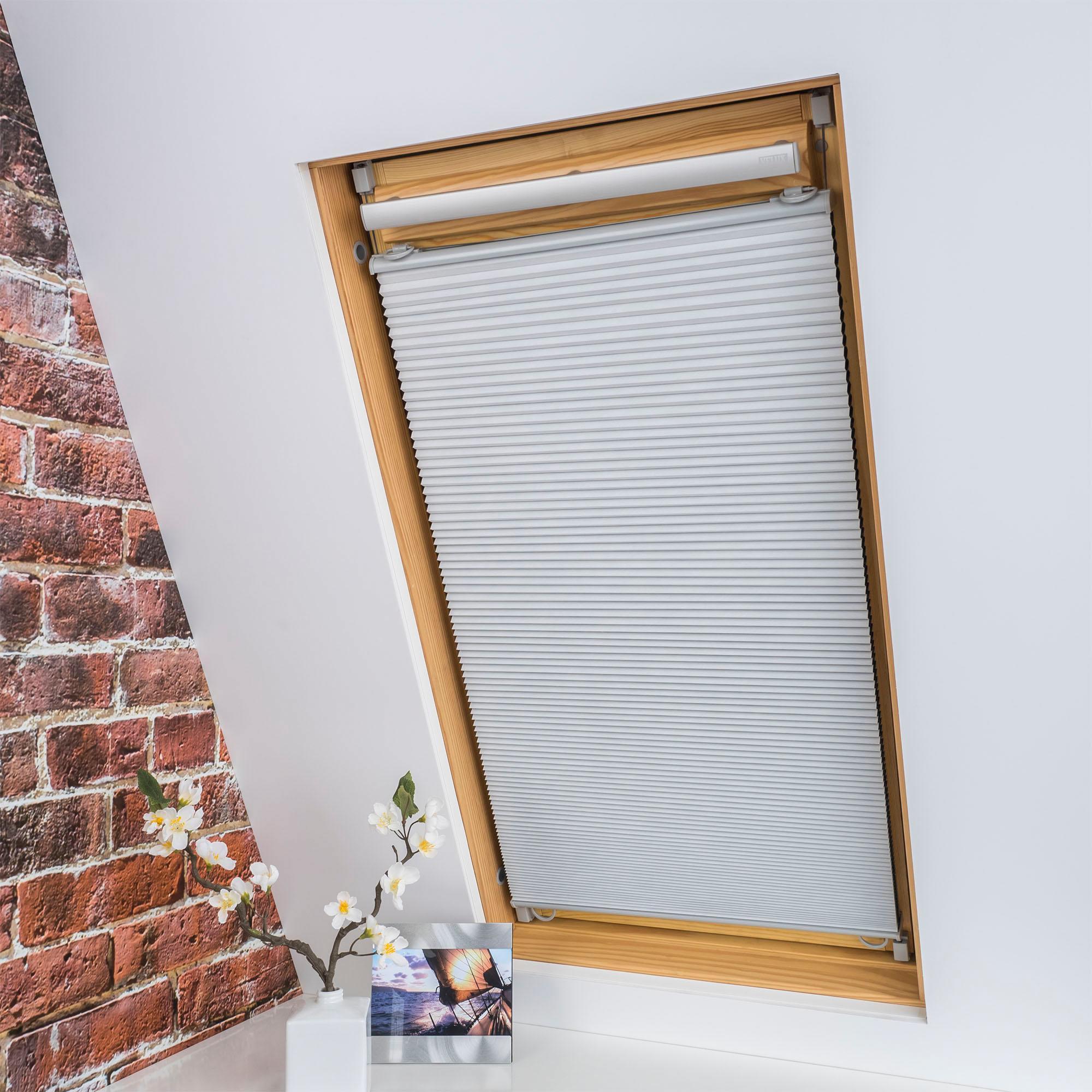Liedeco Dachfensterplissee Universal Dachfenster-Plissee, Fixmaß weiß Plissees ohne Bohren Rollos Jalousien Plissee