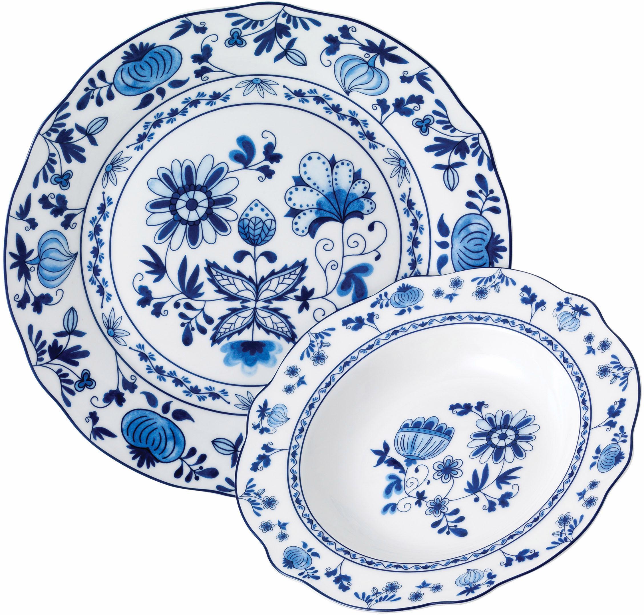 van Well Tafelservice ZWIEBELMUSTER (12-tlg.), Porzellan weiß Geschirr-Sets Geschirr, Tischaccessoires Haushaltswaren