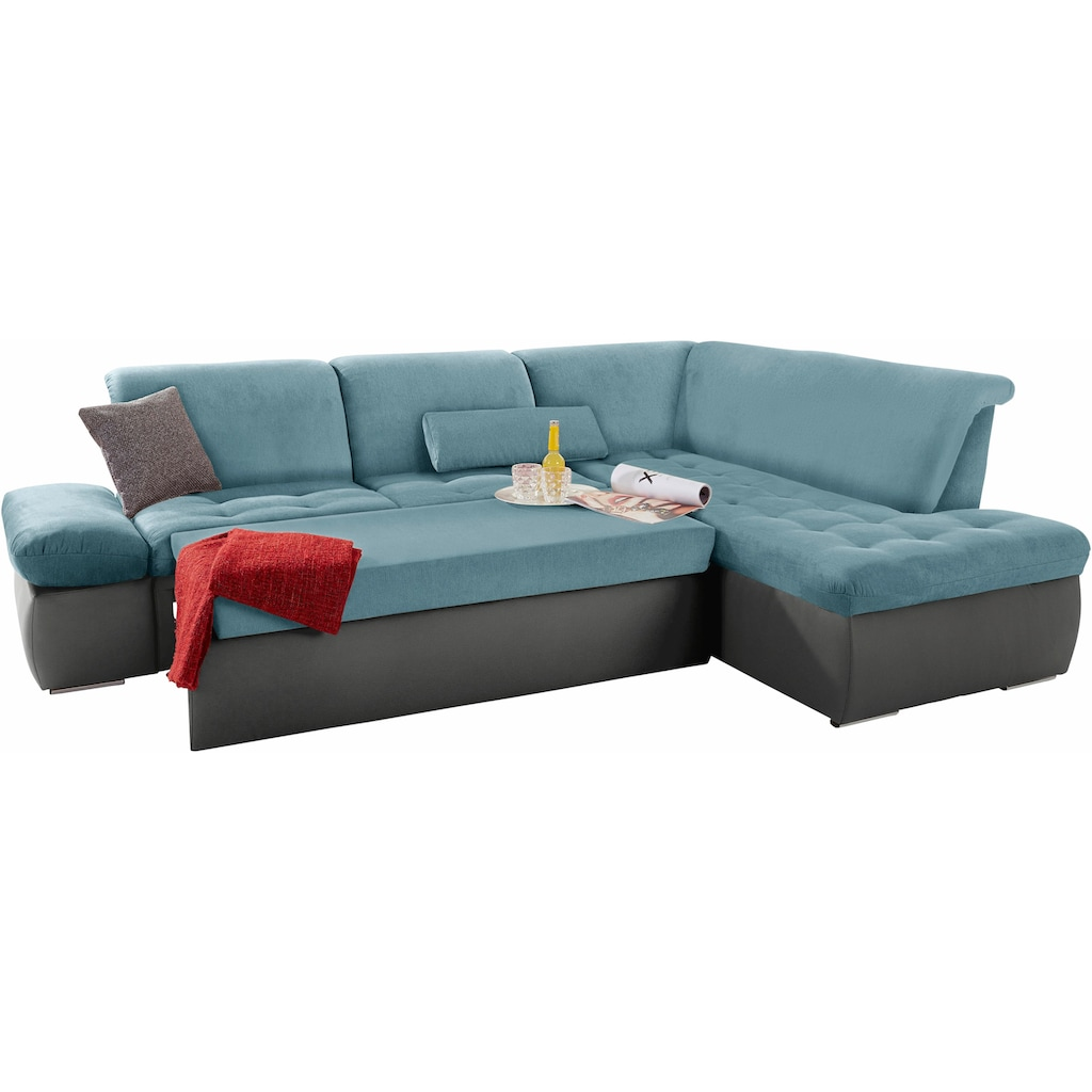 DOMO collection Ecksofa, mit Ottomane, wahlweise mit Bettfunktion