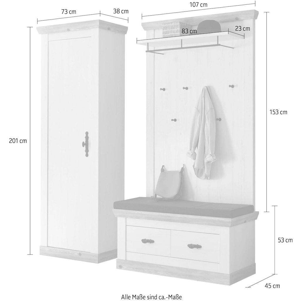 Home affaire Garderoben-Set »Florenz«, (3 St.), bestehend aus 1 Bank plus Sitzkissen, 1 Paneel und 1 Stauraumschrank
