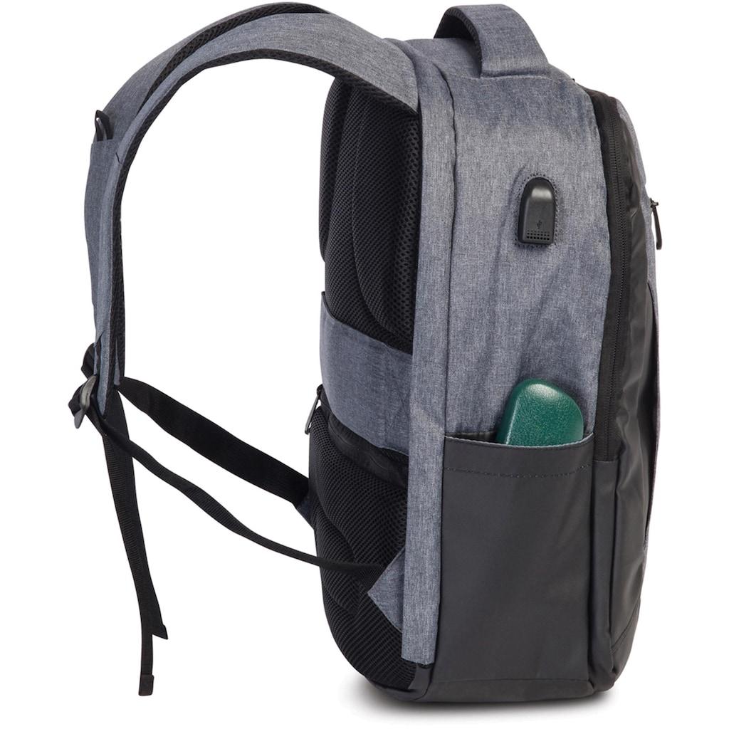 fabrizio® Laptoprucksack »Element Sicherheitsrucksack, grau mit USB-Schleuse«