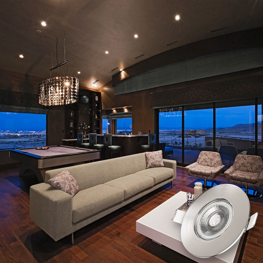 B.K.Licht LED Einbauleuchte, LED-Board, Warmweiß, LED Einbaustrahler Bad Spot dimmbar Lampe IP44 5W Spot Strahler 3er SET