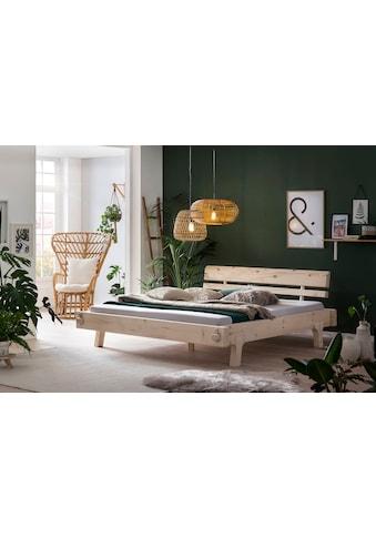 SalesFever Holzbett, aus Massivholz Fichte, Balkenbett in uriger Optik, Futonbett im Landhaus Stil, Massivholzbett kaufen