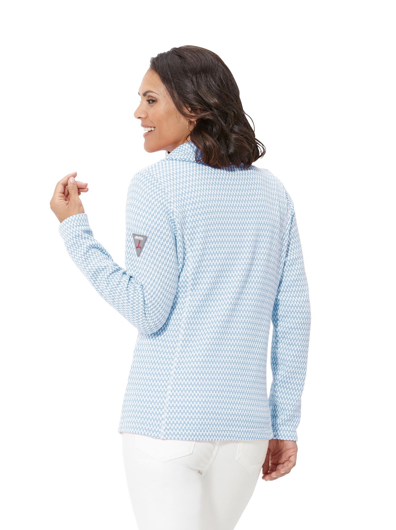 Casual Looks Fleece-Jacke im Zick-Zack-Muster | Bekleidung > Jacken > Fleecejacken | Blau | Fleece | Casual Looks