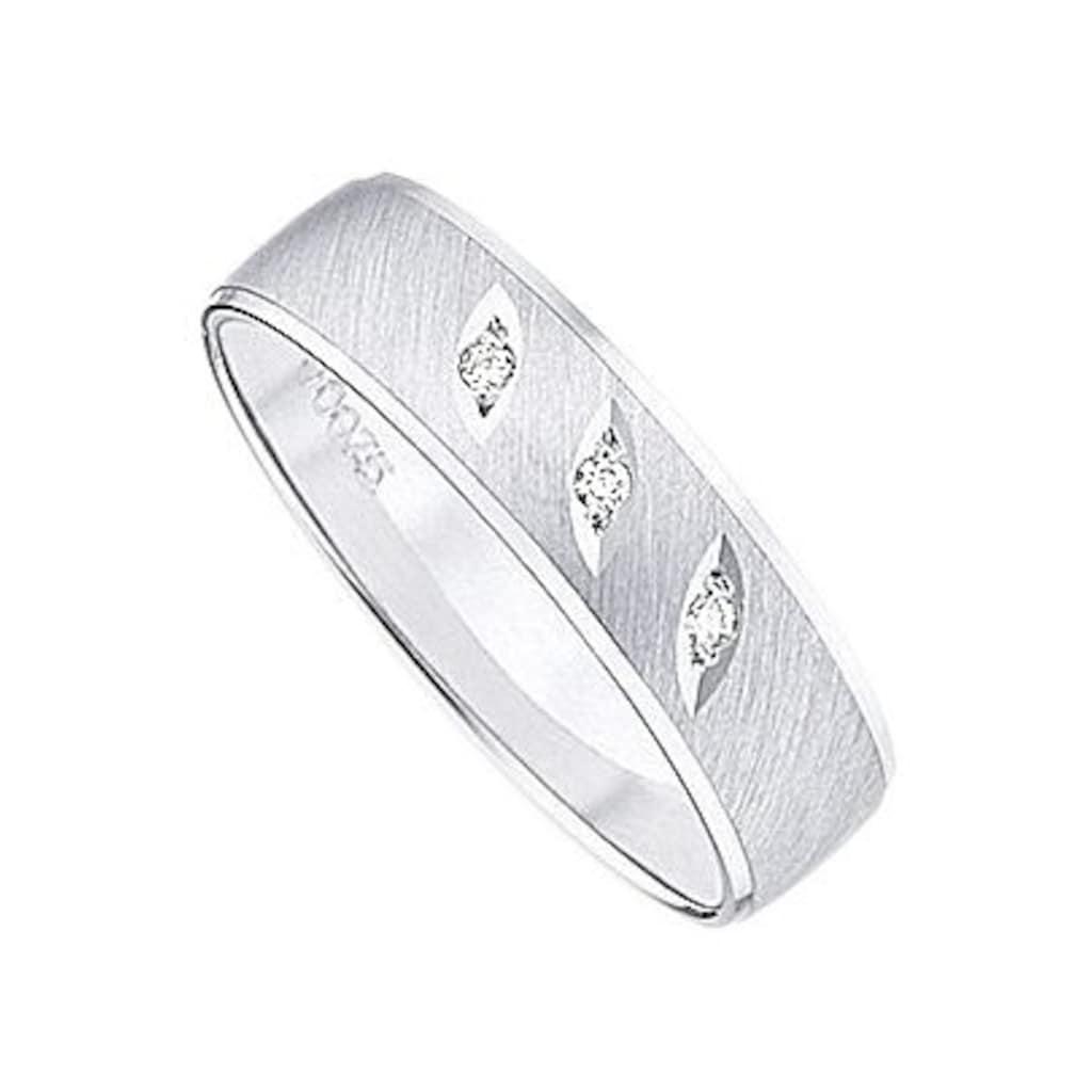 Firetti Trauring mit Gravur »glanz, quer gebürstet, Diamantschnitt, 5,0 mm breit«, wahlweise mit oder ohne Brillant