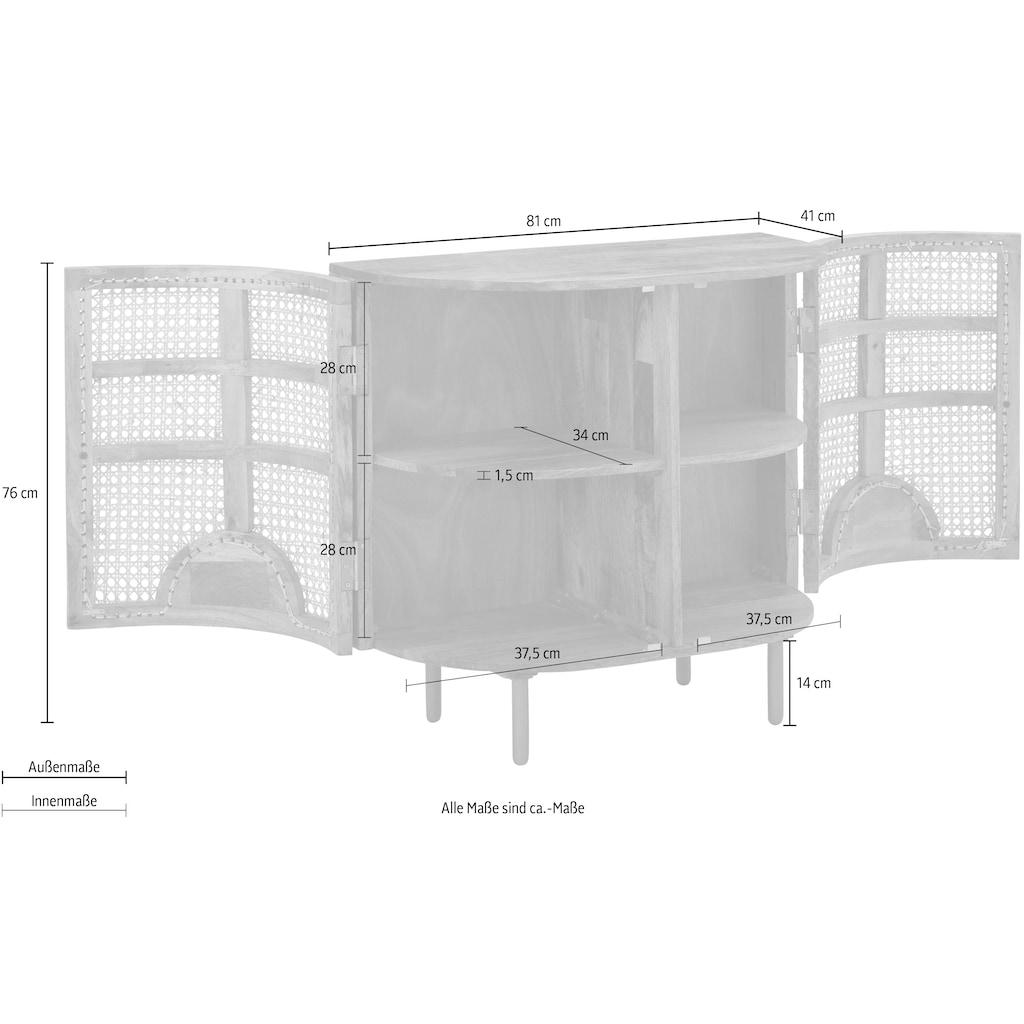 Home affaire Sideboard »Malcolm«, aus Rattan-Geflecht und massivem Mangoholz, handgefertigt, mit abgerundeten Kanten, Breite 81 cm