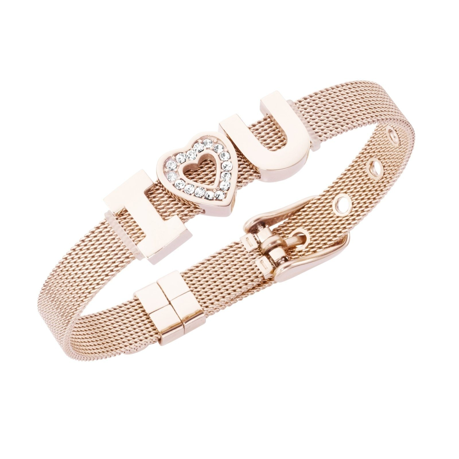 Jacques Charrel Armband Milanaise mit Kristallsteinen I Love You rosa Damen Armbänder Schmuck