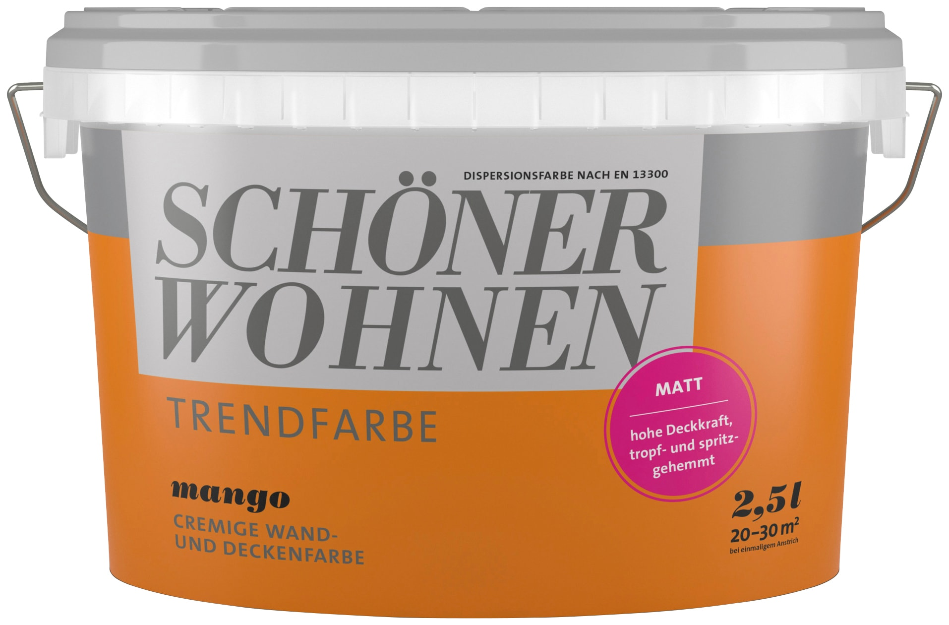 SCHÖNER WOHNEN FARBE Wand- und Deckenfarbe »Trendfarbe Mango,  seidenglänzend«, 2,5 l per Rechnung | BAUR