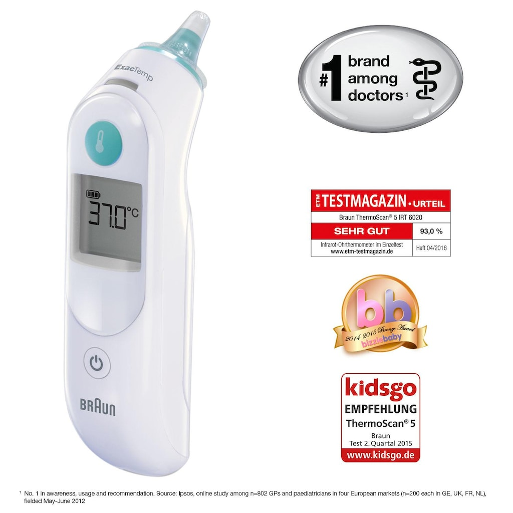 Braun Ohr-Fieberthermometer »ThermoScan 5 IRT6020«, Inklusive 21 Einweg Schutzkappen