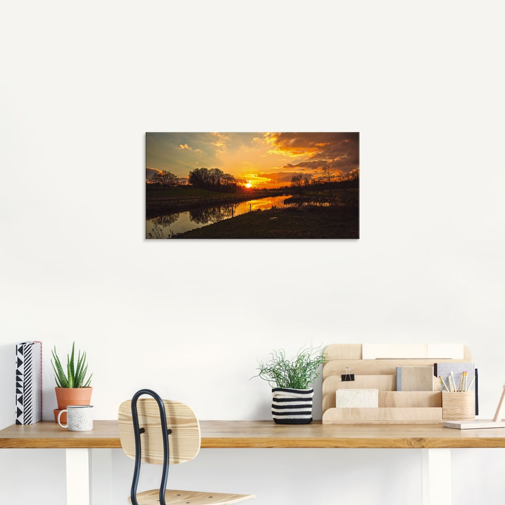 Artland Glasbild »Sonnenuntergang an der Trave«, Sonnenaufgang & -untergang, (1 St.)