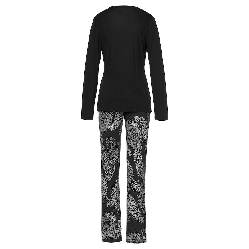 Vivance Dreams Pyjama, im schwarz-weißen Paisley-Dessin